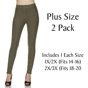 Olive Plus 2 Pack Denim Leggings - Ankle Length J04 - 1 (Fits 14-16) 1 (Fits 18-20)