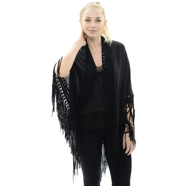 Triangle Shawl - Lace Trim & Fringe JP647 Black -