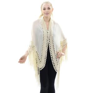 wholesale Triangle Shawl - Lace Trim & Fringe JP647 Beige -