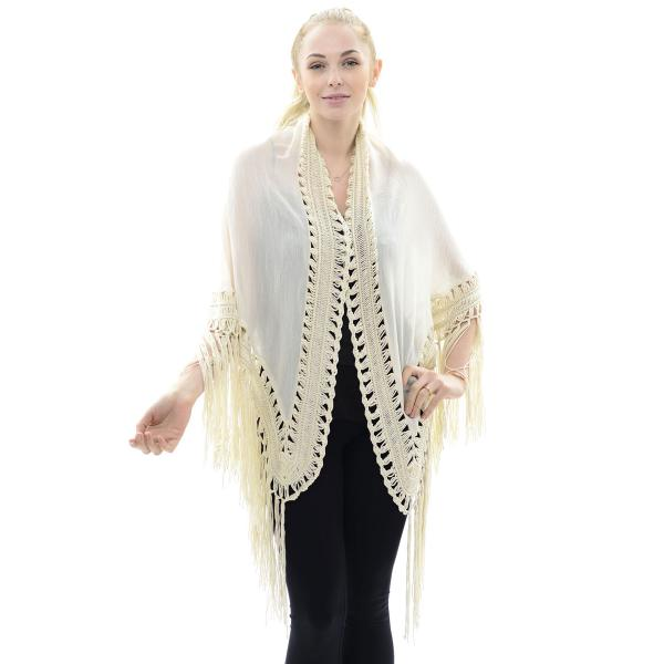 Triangle Shawl - Lace Trim & Fringe JP647 Beige -