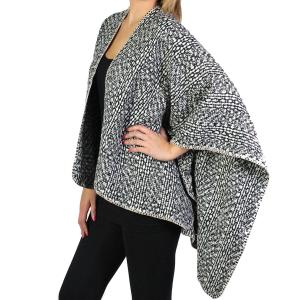 Wholesale  Black*Ruana Capes - Tweed 8819 -