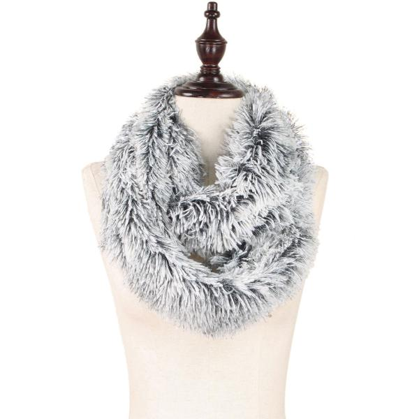 wholesale Infinity Scarves - Faux Fur Two-Tone 8832 Faux Fur Infinity Black/White -