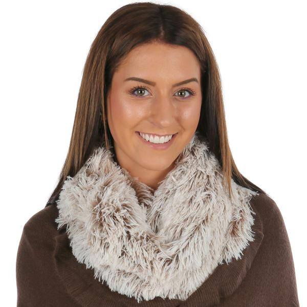 wholesale Infinity Scarves - Faux Fur Two-Tone 8832 Faux Fur Infinity Taupe/Ivory -