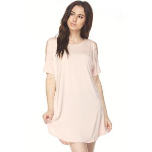 Tunics - Cold Shoulder Rounded Hem 1407** Baby Pink - S