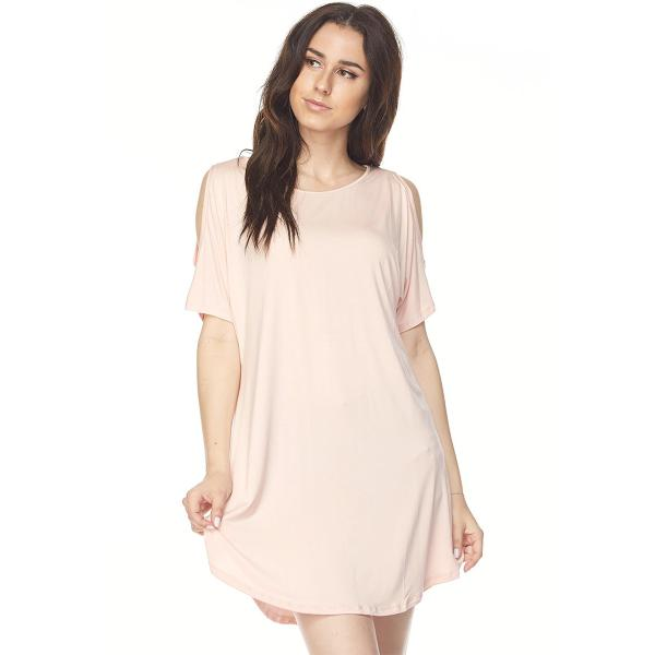 Wholesale Tunics - Cold Shoulder Rounded Hem 1407** Baby Pink Tunics - Cold Shoulder Rounded Hem 1407 - M