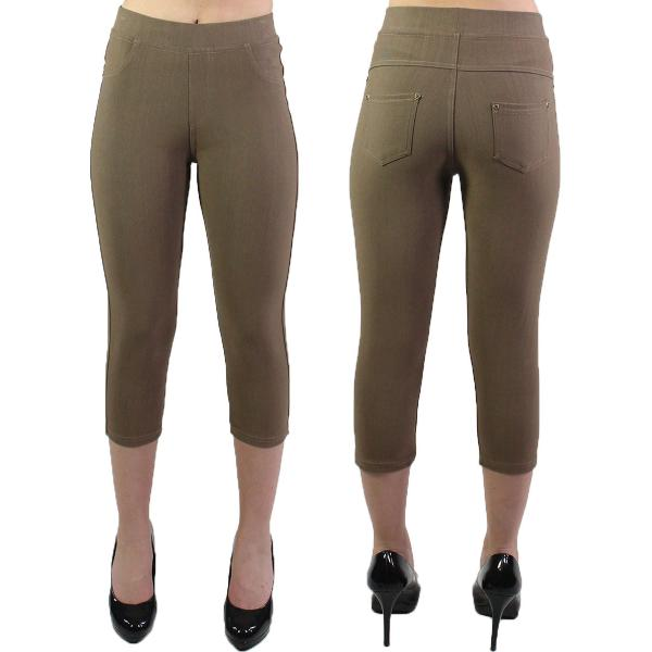 Denim Leggings - Capri Length w/ Back Pockets J04 Mocha Denim Leggings - Capri Length J04 - 4-12
