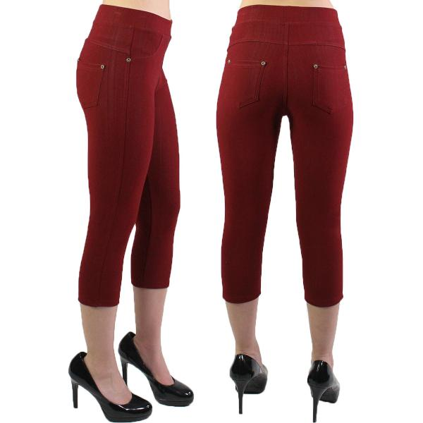 Denim Leggings - Capri Length w/ Back Pockets J04 Burgundy Denim Leggings - Capri Length J04 - 4-12