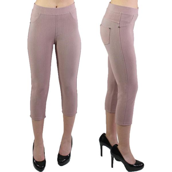 Denim Leggings - Capri Length w/ Back Pockets J04 Mauve Denim Leggings - Capri Length J04 - 4-12