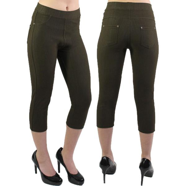 Denim Leggings - Capri Length w/ Back Pockets J04 Brown Denim Leggings - Capri Length J04 - 4-12