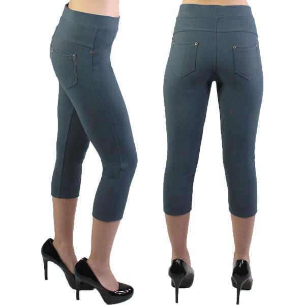 Denim Leggings - Capri Length w/ Back Pockets J04 Charcoal Denim Leggings - Capri Length J04 - 4-12