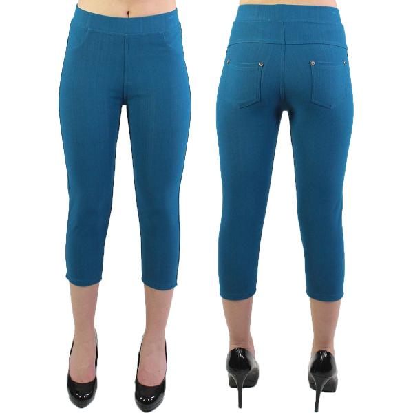 wholesale Denim Leggings - Capri Length w/ Back Pockets J04 Teal Denim Leggings - Capri Length J04 - 4-12