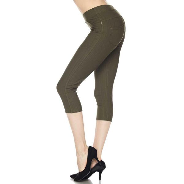 Denim Leggings - Capri Length w/ Back Pockets J04 Olive Denim Leggings - Capri Length J04 - 4-12