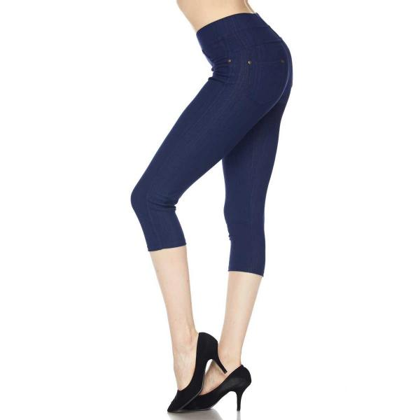 Denim Leggings - Capri Length w/ Back Pockets J04 Denim-Blue Denim Leggings - Capri Length J04 - 4-12