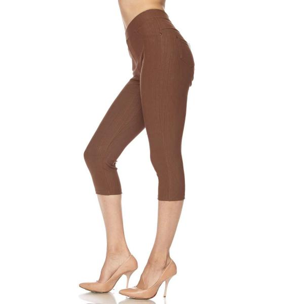 Denim Leggings - Capri Length w/ Back Pockets J04 LIGHT BROWN Denim Leggings - Capri Length J04 - 4-12