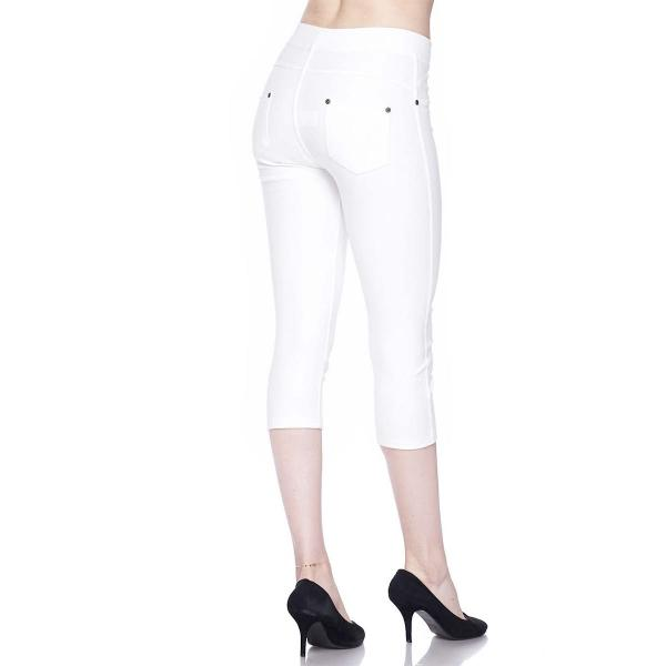 Denim Leggings - Capri Length w/ Back Pockets J04 White Denim Leggings - Capri Length J04 - 4-12
