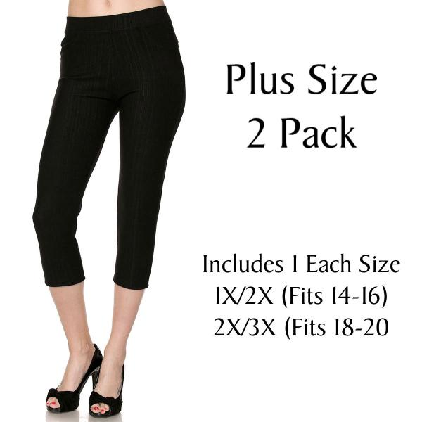 Denim Leggings - Capri Length w/ Back Pockets J04 Black Plus 2 Pack Denim Leggings - Capri Length J04 - 1 (Fits 14-16) 1 (Fits 18-20)