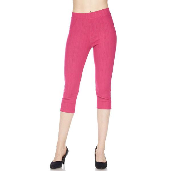 Denim Leggings - Capri Length w/ Back Pockets J04 Fuchsia Denim Leggings - Capri Length J04 - 4-12