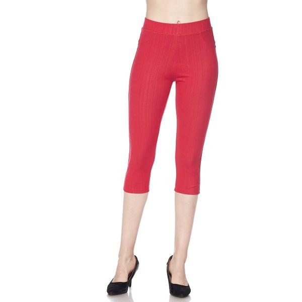 Denim Leggings - Capri Length w/ Back Pockets J04 Red Denim Leggings - Capri Length J04 - 4-12