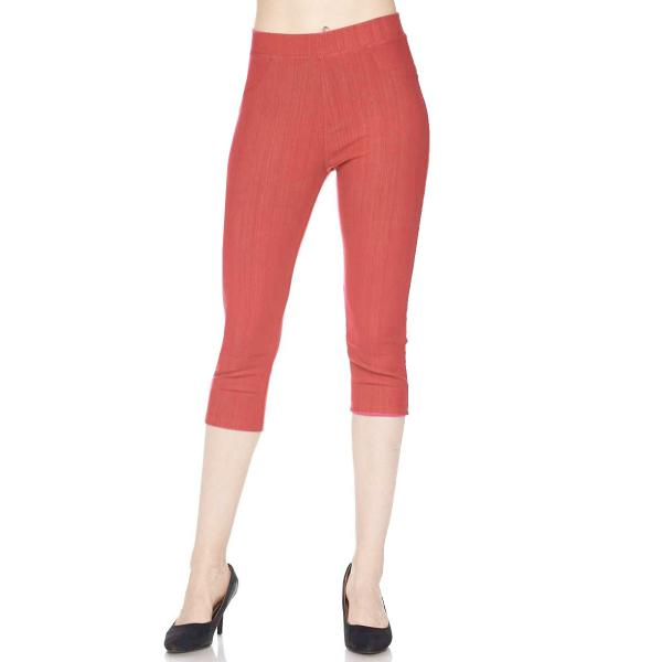 Denim Leggings - Capri Length w/ Back Pockets J04 Rust Denim Leggings - Capri Length J04 - 4-12