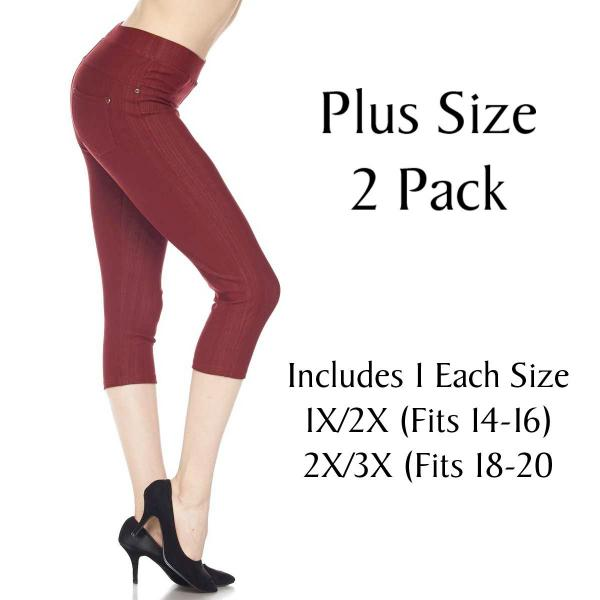 Denim Leggings - Capri Length w/ Back Pockets J04 BURGUNDY Plus 2 Pack Denim Leggings - Capri Length J04 - 1 (Fits 14-16) 1 (Fits 18-20)