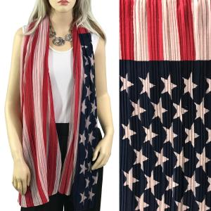 Scarves - American Flag Designs Oblong Scarf Pleated American Flag 028 -