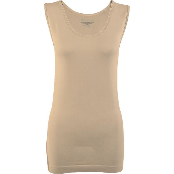 Magic SmoothWear Tanks & Sleeveless   Beige Sleeveless - One Size Fits (S-XL) Sleeveless