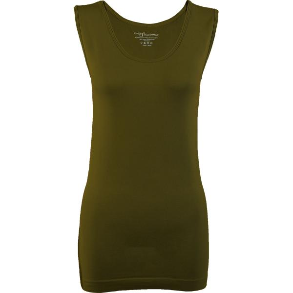 Magic SmoothWear Tanks & Sleeveless   Olive Sleeveless - One Size Fits (S-XL) Sleeveless