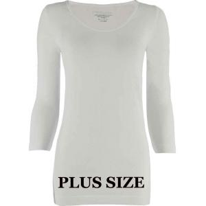 wholesale Magic SmoothWear Three Quarter & Long Sleeve White Three Quarter Sleeve Plus - Plus Size Fits (L-2X) TQ