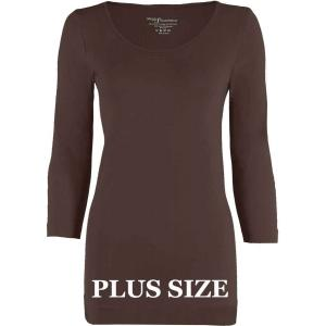 wholesale Magic SmoothWear Three Quarter & Long Sleeve Espresso Three Quarter Sleeve Plus - Plus Size Fits (L-2X) TQ