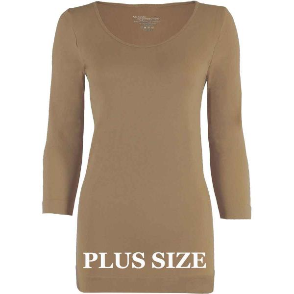 wholesale Magic SmoothWear with Sleeves Taupe Three Quarter Sleeve Plus - Plus Size Fits (L-2X) TQ