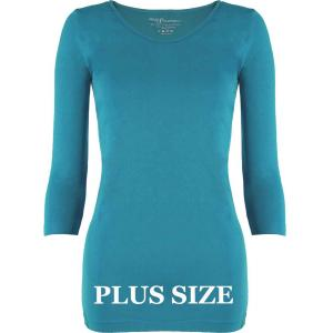 wholesale Magic SmoothWear Three Quarter & Long Sleeve Aqua Three Quarter Sleeve Plus - Plus Size Fits (L-2X) TQ