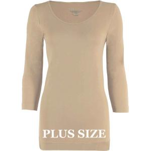wholesale Magic SmoothWear Three Quarter & Long Sleeve Beige Three Quarter Sleeve Plus - Plus Size Fits (L-2X) TQ