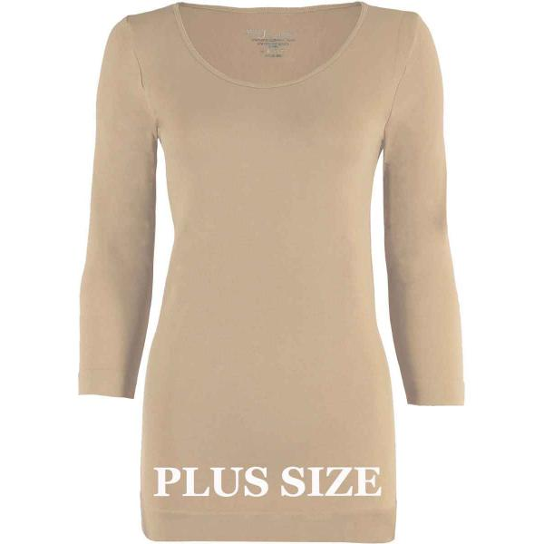 wholesale Magic SmoothWear with Sleeves Beige Three Quarter Sleeve Plus - Plus Size Fits (L-2X) TQ