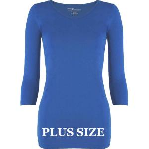 wholesale Magic SmoothWear Three Quarter & Long Sleeve Blue Three Quarter Sleeve Plus - Plus Size Fits (L-2X) TQ