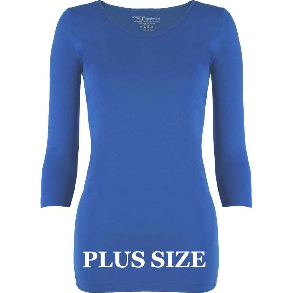 wholesale Magic SmoothWear with Sleeves Blue Three Quarter Sleeve Plus - Plus Size Fits (L-2X) TQ