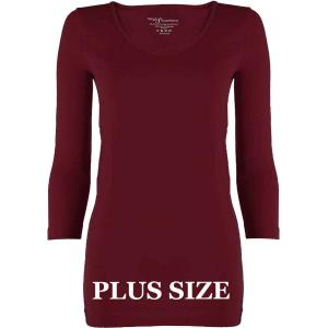 wholesale Magic SmoothWear Three Quarter & Long Sleeve Cabernet Three Quarter Sleeve Plus - Plus Size Fits (L-2X) TQ