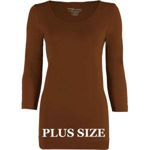 wholesale Magic SmoothWear Three Quarter & Long Sleeve Chestnut Three Quarter Sleeve Plus - Plus Size Fits (L-2X) TQ