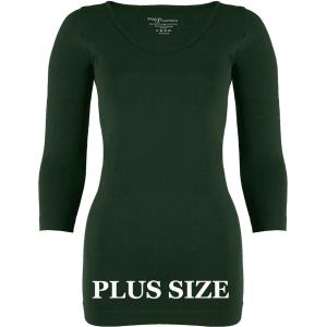 wholesale Magic SmoothWear Three Quarter & Long Sleeve Dark Hunter Green Three Quarter Sleeve Plus - Plus Size Fits (L-2X) TQ