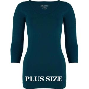 wholesale Magic SmoothWear Three Quarter & Long Sleeve Dark Teal Three Quarter Sleeve Plus - Plus Size Fits (L-2X) TQ