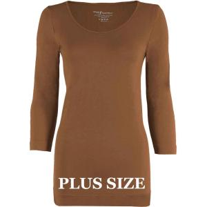 wholesale Magic SmoothWear Three Quarter & Long Sleeve Mocha Three Quarter Sleeve Plus - Plus Size Fits (L-2X) TQ