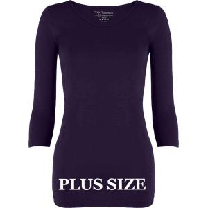 wholesale Magic SmoothWear Three Quarter & Long Sleeve Plum Three Quarter Sleeve Plus - Plus Size Fits (L-2X) TQ