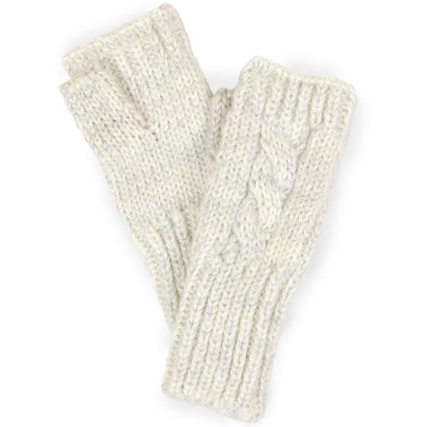 wholesale Fingerless Gloves Lurex Cable Knit 3544 - Ivory -