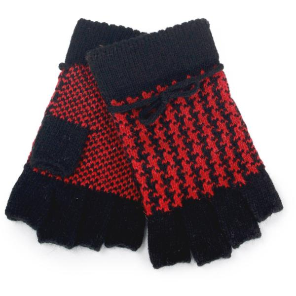 wholesale Fingerless Gloves Red Houndstooth 3502 -