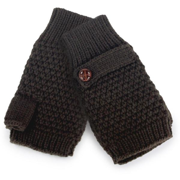 wholesale Fingerless Gloves Brown Button Deco 3503 -