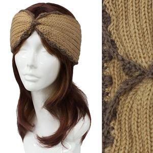 Metallic Print Shawls with Buttons #2001 Beige Knitted Head Wrap -