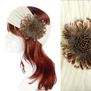 Metallic Print Shawls with Buttons #2045 Ivory Knitted Head Wrap -