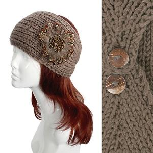 Metallic Print Shawls with Buttons #2046 Taupe Knitted Head Wrap -