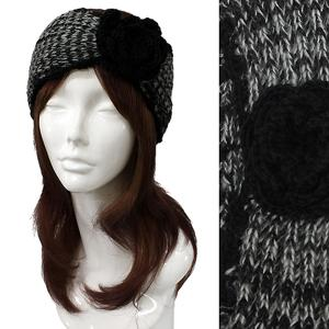Metallic Print Shawls with Buttons #2012 Black Knitted Head Wrap -