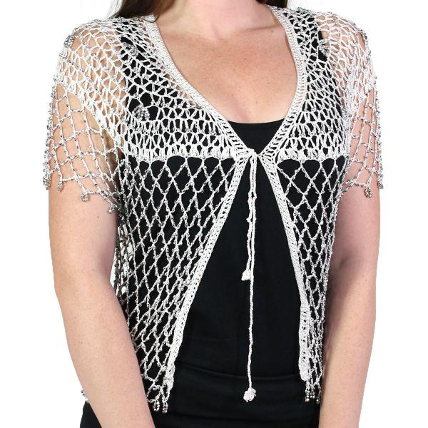 wholesale Shanghai Beaded Fishnet Vest #518 White w/ Silver Beads -