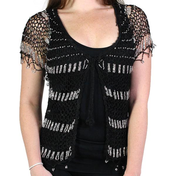 wholesale Shanghai Beaded Fishnet Vest #519 Black w/ Silver Beads -